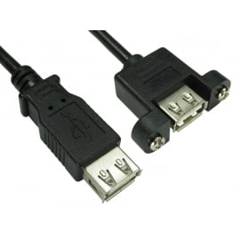 0.18m USB 2.0 Type A (F) to Type A (F) Panel Mount Cable