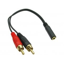 0.2m 3.5mm (F) to 2 RCA (M) Stereo - Gold Pins