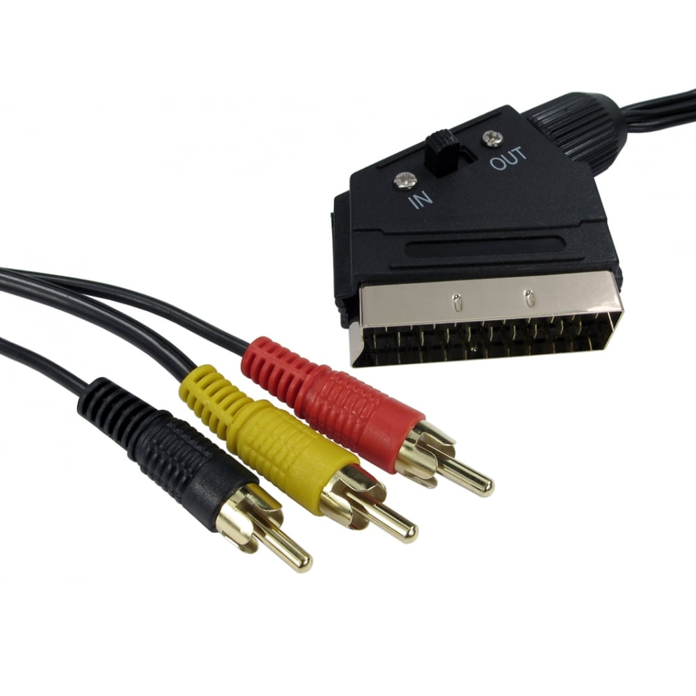 Switchable Scart To Three Rca Cable 2 Way Switch Box 15m