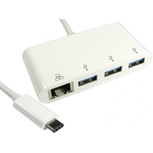 15cm Leaded USB TYPE C (M) TO 3x USB3.0 Hub With Gigabit RJ45