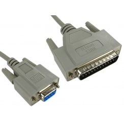 2m D9 Female to D25 Male Null Modem Cable