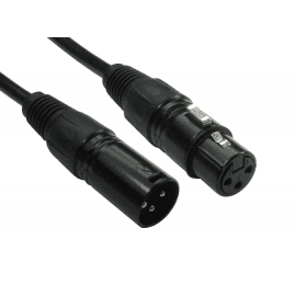 3 Pin XLR Male to Female Cable - Black Hoods