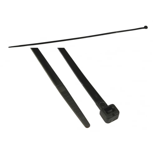 368mm x 4.8mm Black Cable Ties - 100 Pack