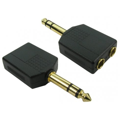 6.35mm (M) to 2x 6.35mm (F) Stereo Splitter - Gold Pins