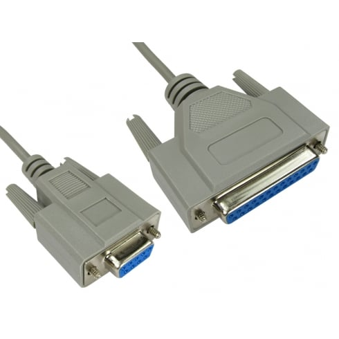 D9 Female to D25 Female Null Modem Cable