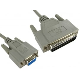 D9 Female to D25 Male Null Modem Cable