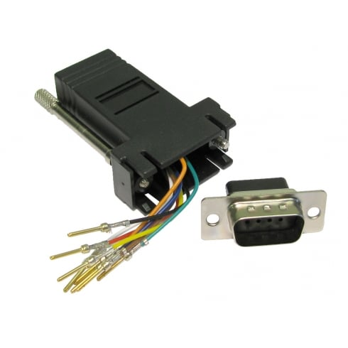 D9 Male to RJ45 Female Modular Adapter
