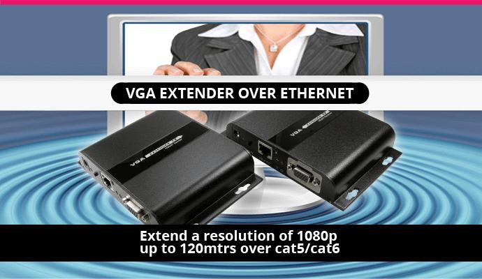 SVGA & Audio Over Cat5e/Cat 6 Extender - 120m
