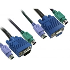 1.8m 2x M-M PS/2 & 1x SVGA M-F KVM Cable