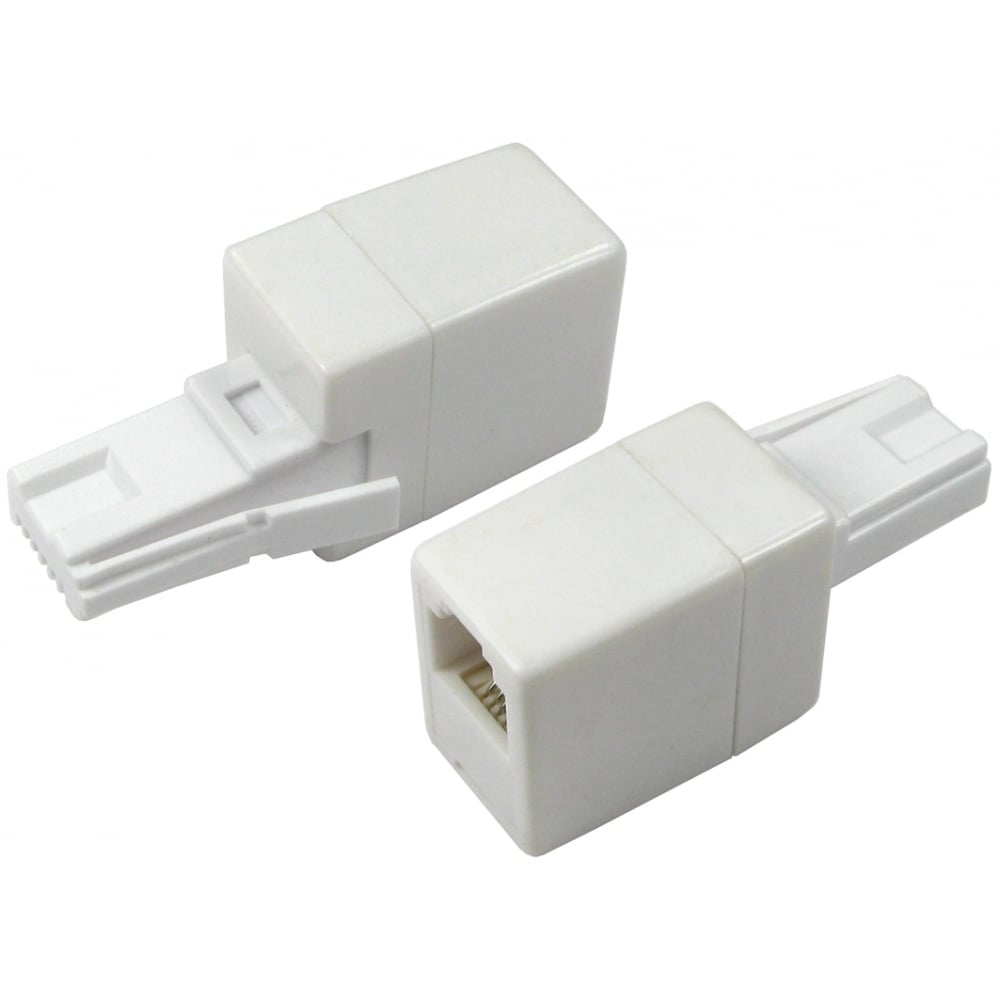 Uk Bt Telephone Plug To Rj11 Socket Adapter Connector Straight Wall Wiring Wire Adaptor