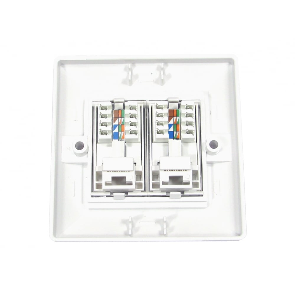 2 Port Rj45 Face Plate Wall Socket Loaded Faceplate