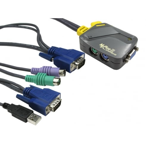 Rextron 2 Port Micro KVM - SVGA & PS/2 - USB Leads