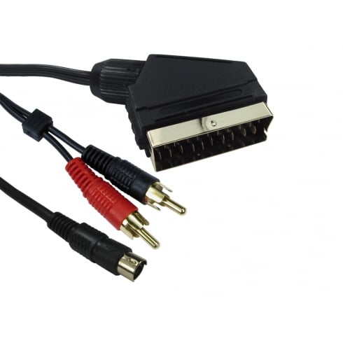 SCART to Two RCA & SVHS Cable