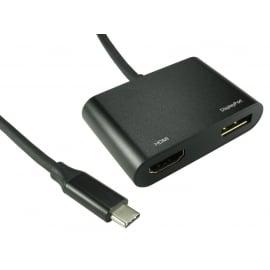 USB C TO HDMI 4K 60Hz + DisplayPort 4k@60Hz Adapter