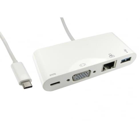 USB Type C to VGA, USB & Gigabit Adapter